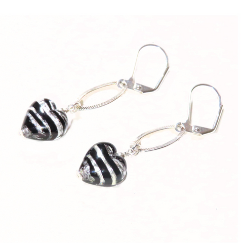 Murano Glass Black Heart Long Silver Earrings - JKC Murano