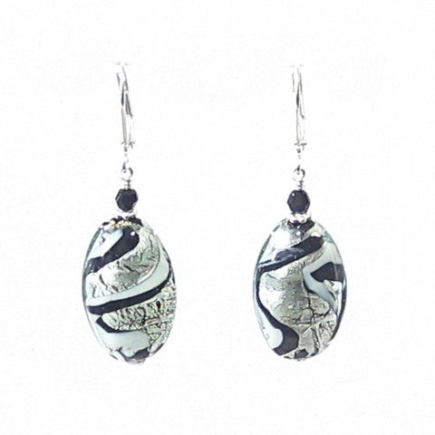 Murano Glass Black White Swirl Oval Sterling Silver Earrings - JKC Murano