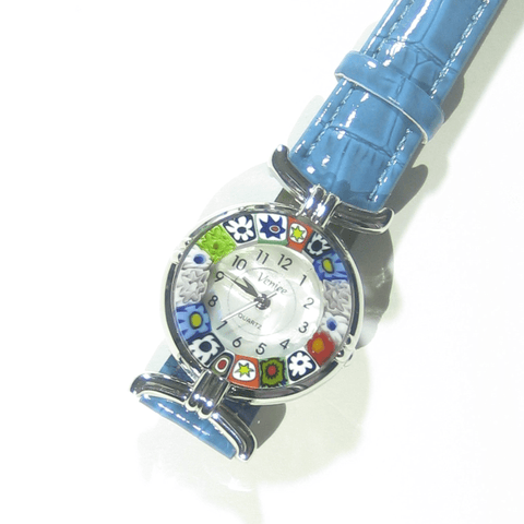 Murano Glass Millefiori Chrome Blue Leather Band Watch - JKC Murano