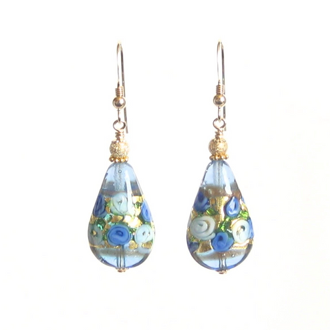 Murano Glass Teardrop Blue Roses Gold Earrings, JKC Murano - JKC Murano