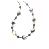 Murano Glass Blue Black Copper Swirl Silver Necklace - JKC Murano