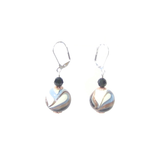 Murano Glass Black White Blue Copper Silver Earrings - JKC Murano