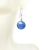 Murano Glass Blue Disc Sterling Silver Earrings - JKC Murano