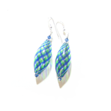 Murano Blown Glass Blue Green Long Oval Earrings - JKC Murano
