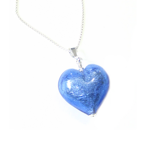 Murano Glass Blue Puffy Heart Pendant by JKC Murano - JKC Murano