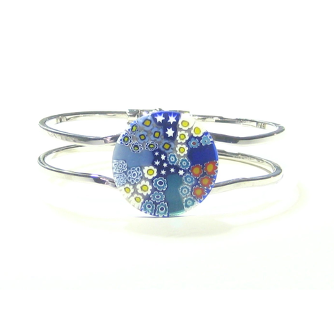 Murano Glass Colorful Blue Millefiori Chrome Bangle Bracelet - JKC Murano