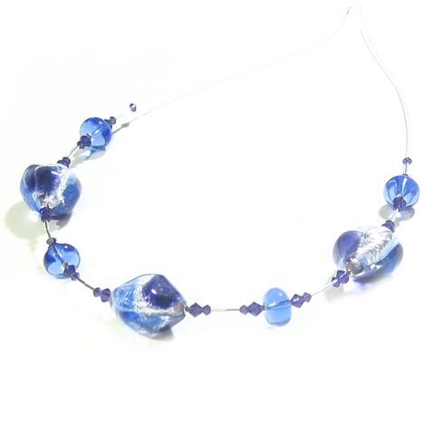 Murano Glass Blue Plum Sterling Silver Necklace by JKC Murano - JKC Murano