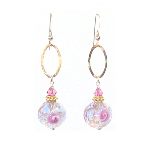 Murano Glass Blue Pink Rose Ball Long Gold Earrings - JKC Murano