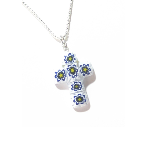Murano Glass Millefiori Blue White Cross Pendant, Sterling Silver Chain - JKC Murano