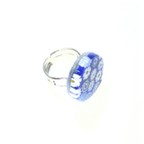 Murano Glass Cobalt Blue White Large Millefiori Ring - JKC Murano
