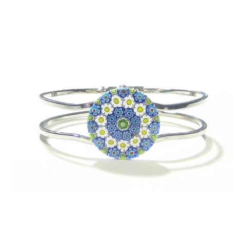 Murano Glass Blue Yellow Daisy Millefiori Chrome Bangle Bracelet - JKC Murano