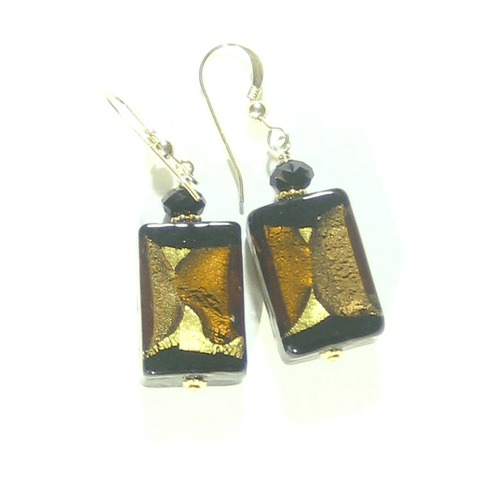 Murano Glass Black Brown Topaz Rectangle Gold Earrings - JKC Murano