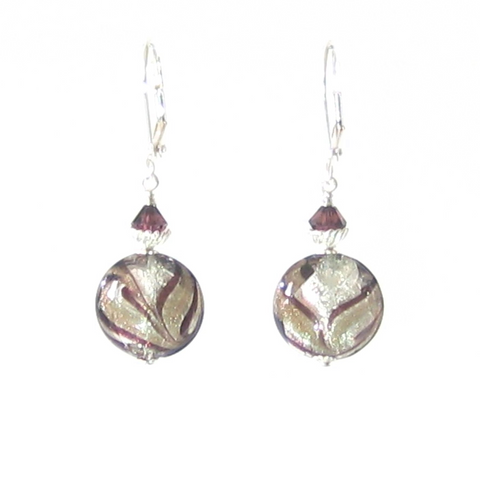 Murano Glass Brown Feather White Gold Disc Sterling Silver Earrings - JKC Murano