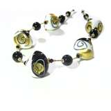 Murano Black White Swirl Chunky Abstract Gold Necklace - JKC Murano
