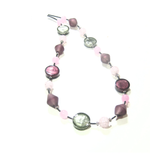 Murano Glass Purple Pink Gray Long Silver Necklace - JKC Murano