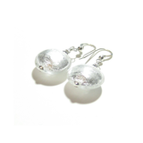 Murano Glass Large Clear Disc Silver Earrings - JKC Murano