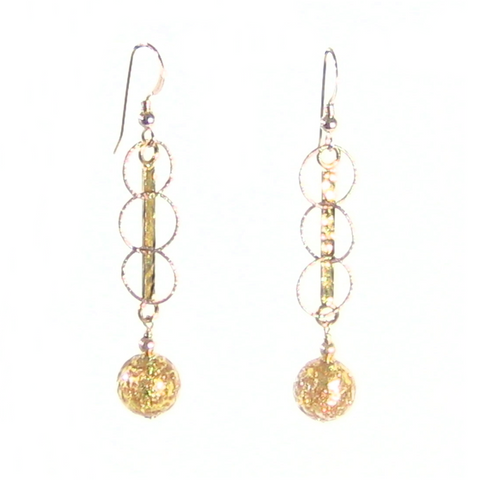 Murano Glass Clear Copper Ball Long Gold Earrings - JKC Murano