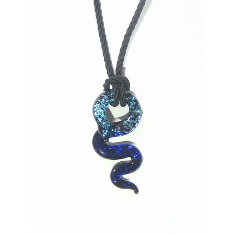 Murano Glass Cobalt Blue Aqua Sparkle Snake Pendant Necklace - JKC Murano