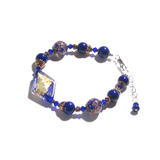 Murano Glass Cobalt blue Copper Sterling Silver Bracelet - JKC Murano