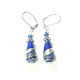 Murano Glass Cobalt Blue Teardrop Sterling Silver Earrings - JKC Murano