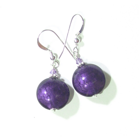 Murano Glass Dark Plum Disc Sterling Silver Earrings