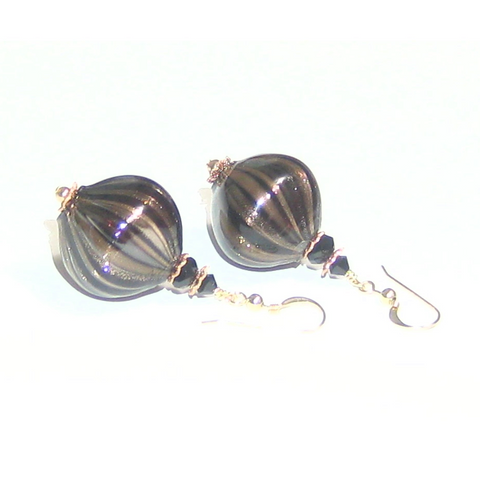 Murano Blown Glass Black Copper Nugget Earrings - JKC Murano