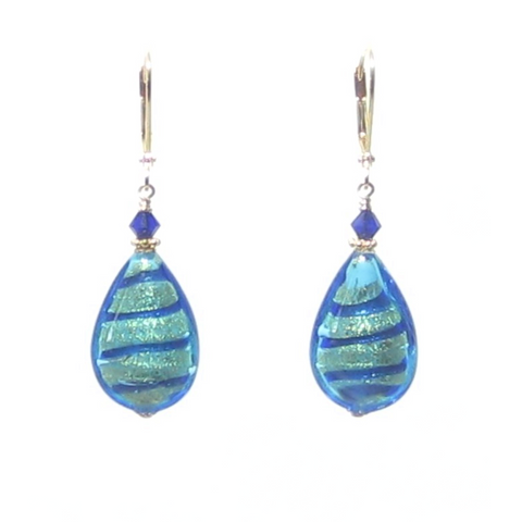 Murano Glass Aqua Blue Stripe Flat Teardrop Gold Earrings - JKC Murano