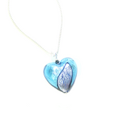 Murano Glass Aqua Purple Black Heart Pendant, Genuine Murano Glass Jewelry - JKC Murano