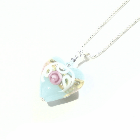 Murano Glass Aquamarine Wedding Cake Rose Heart Pendant