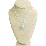 Murano Glass Aquamarine Wedding Cake Rose Heart Pendant - JKC Murano
