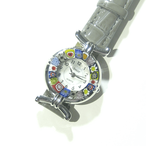 Italian Murano Glass Millefiori Chrome Gray Leather Band Watch - JKC Murano