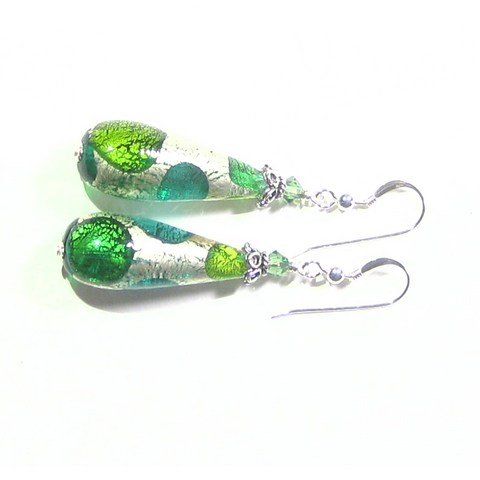 Murano Glass Green Dot Teardrop Sterling Silver Earrings - JKC Murano