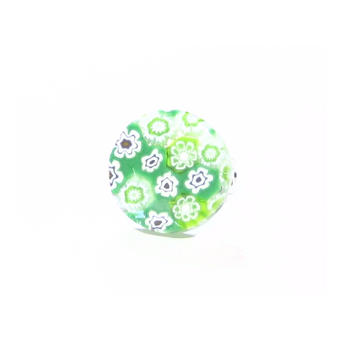 Murano Glass Green and White Large Millefiori Ring - JKC Murano