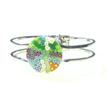 Murano Glass Colorful Green Millefiori Chrome Bangle Bracelet - JKC Murano