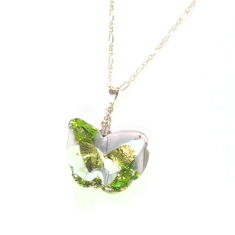 Murano Glass Green White Butterfly Pendant Necklace - JKC Murano