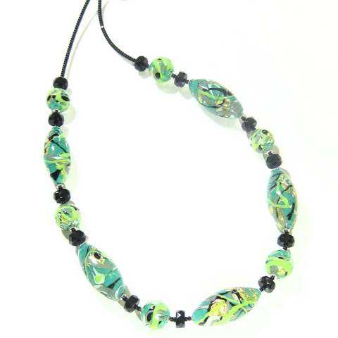 Murano Glass Green Gray Abstract Oval Silver Necklace - JKC Murano