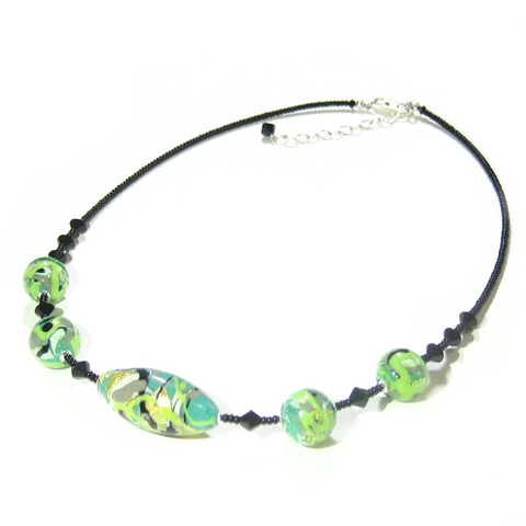 Murano Glass Green Gray Abstract Ball Silver Necklace - JKC Murano