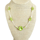 Murano Glass Lime Green Twist Illusion Sterling Silver Necklace, Venetian Jewelry - JKC Murano