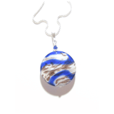 Murano Glass Cobalt Blue White Copper Disc Pendant - JKC Murano