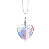 Murano Glass Pale Blue Pink Silver Heart Pendant, Genuine Murano Glass Jewelry - JKC Murano