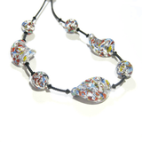 Murano Glass Klimt Twist Chunky Silver Necklace, Venetian Jewelry - JKC Murano