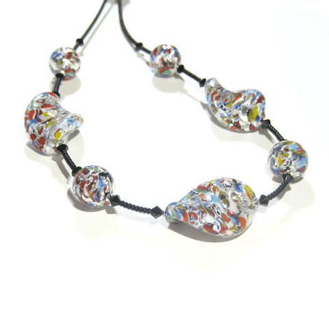 Murano Glass Klimt Twist Chunky Silver Necklace, Venetian Jewelry
