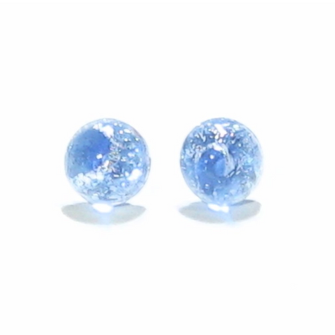 Murano Glass Light Blue Silver Dichroic Button Earrings, Stud Earrings - JKC Murano