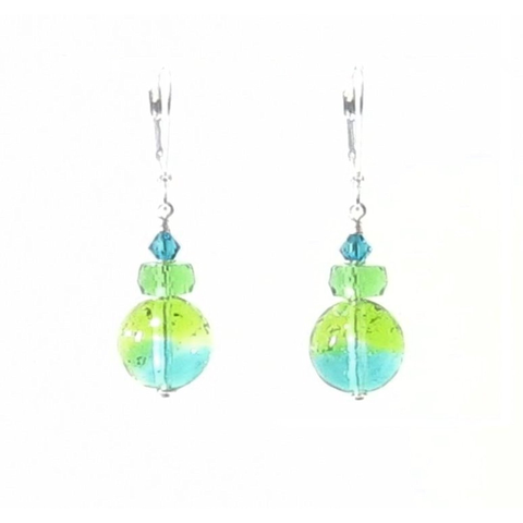 Murano Glass Sea Green and Lime Ball Silver Earrings, Italian Jewelry - JKC Murano