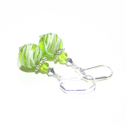 Murano Glass Lime Green Swirl Ball Silver Earrings - JKC Murano