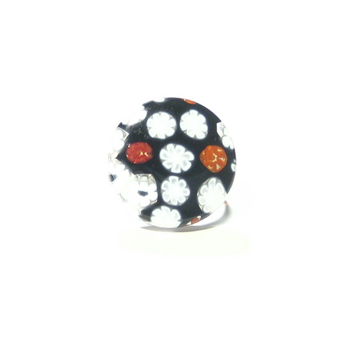 Murano Glass Black Red White Large Millefiori Ring - JKC Murano