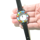 Murano Glass Large Millefiori Chrome Black Leather Band Watch - JKC Murano