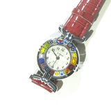 Murano Glass Millefiori Chrome Red Leather Band Watch - JKC Murano