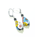 Murano Glass Colorful Millefiori Teardrop Silver Earrings - JKC Murano