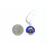Murano Glass Colorful Tree of Life Blue Disc Sterling Silver Earrings - JKC Murano